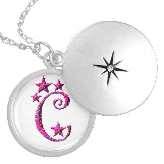 Initiale des Buchstabe-C Runde Medaillon Halskette