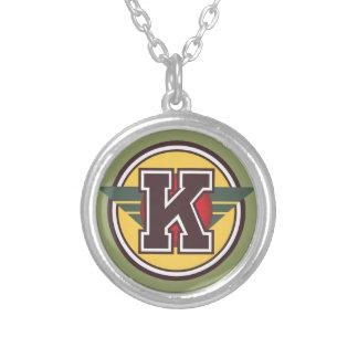 """Initiale des Deko-Monogramm-Buchstabe-""""K"""" Halskette Mit Rundem Anhänger"""