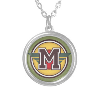 """Initiale des Deko-Monogramm-Buchstabe-""""M"""" Halskette Mit Rundem Anhänger"""