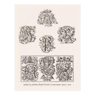 Initialen, Johann Preisler, Nurnberg 1700 Postkarte