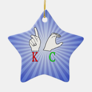 INITIALEN KC ASL FINGERSPELLED KERAMIK ORNAMENT