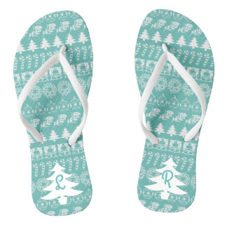 Initialen-- weißes/aquamarines flip flops