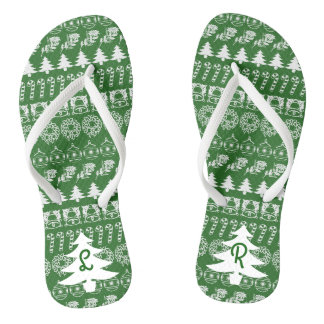 Initialen-- weißes/grünes flip flops