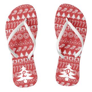 Initialen-- weißes/rotes flip flops