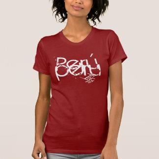 InKa1821 Aufkleber - rotes Damen-T-Stück T-Shirt
