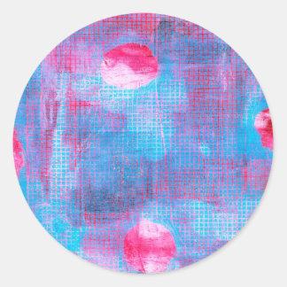Inkarnatklee-abstrakte Kunst Fuschia rosa Blau Runder Aufkleber