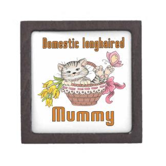 Inländische langhaarige Katzen-Mamma Schmuckkiste