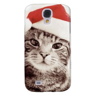 Inländische Tabbykatze, die roten Weihnachtshut Galaxy S4 Hülle