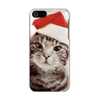 Inländische Tabbykatze, die roten Weihnachtshut Incipio Feather® Shine iPhone 5 Hülle