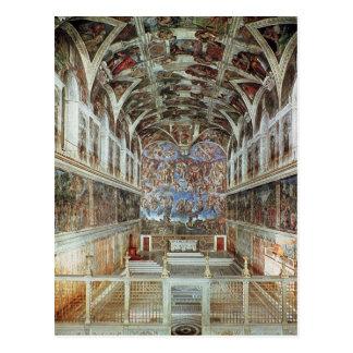 Innenansicht der Sistine Kapelle Postkarte
