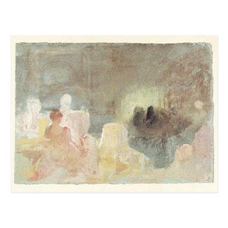 Innenraum bei Petworth mit einer Sitzfrau, 1830 Postkarte