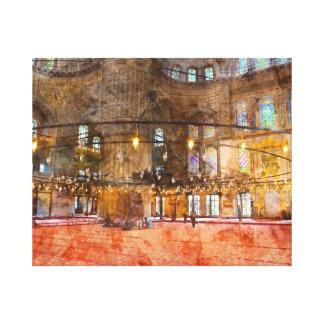 Innenraum der blauen Moschee in Istanbul die Leinwanddruck
