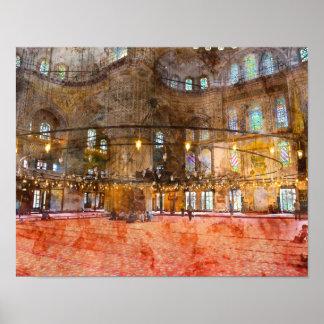 Innenraum der blauen Moschee in Istanbul die Poster