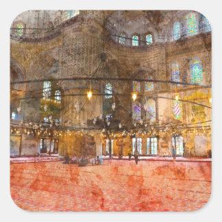 Innenraum der blauen Moschee in Istanbul die Quadratischer Aufkleber