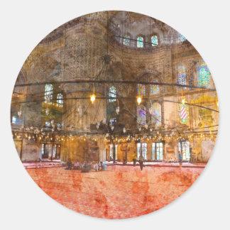 Innenraum der blauen Moschee in Istanbul die Runder Aufkleber