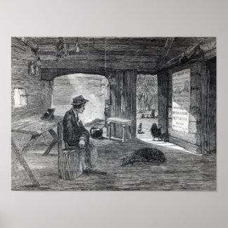Innenraum der Hütte eines Siedlers in Australien Poster