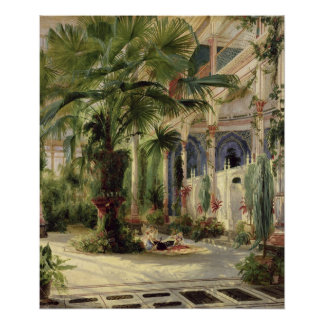 Innenraum des Palmen-Hauses in Potsdam, 1833 Poster