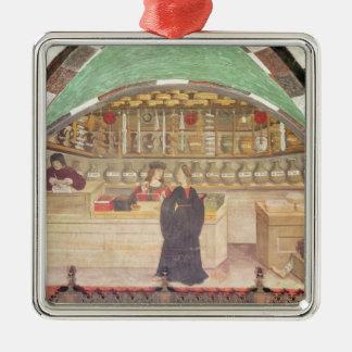 Innenraum einer Apotheke Quadratisches Silberfarbenes Ornament