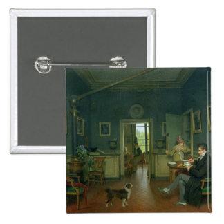 Innenraum eines Esszimmers, 1816 Quadratischer Button 5,1 Cm