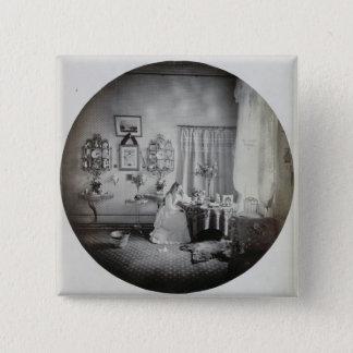 Innenraum von Muckross Haus, c.1865 (Albumendruck) Quadratischer Button 5,1 Cm