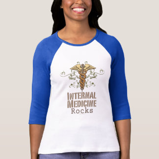 Innere Medizin schaukelt Caduceusraglan-T-Stück T-Shirt
