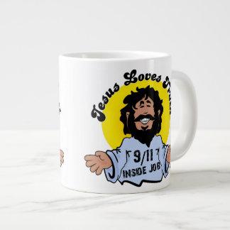 Innerer Job der Jesus-Liebe-Wahrheits-9-11 lustig Jumbo-Tasse