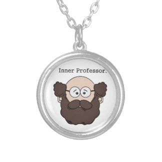Innerer Professor Bearded Teacher Cartoon Versilberte Kette