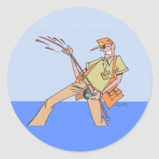 Innerhalb der runden Aufkleber des Fischers