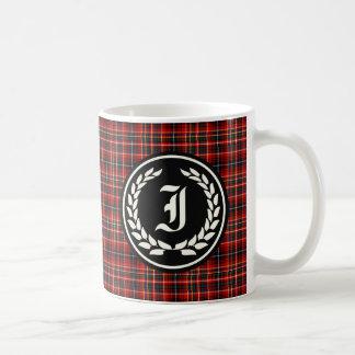 Innes Clanrotes Tartan-Monogramm Kaffeetasse
