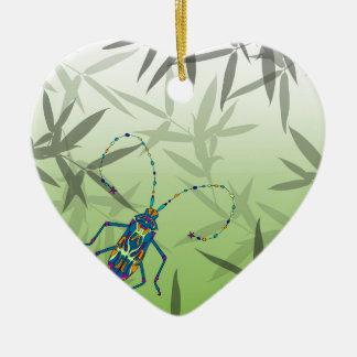 Insekten-Bambus verlässt grünes einzigartiges Keramik Herz-Ornament