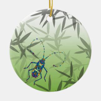Insekten-Bambus verlässt grünes einzigartiges Rundes Keramik Ornament