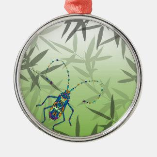 Insekten-Bambus verlässt grünes einzigartiges Rundes Silberfarbenes Ornament