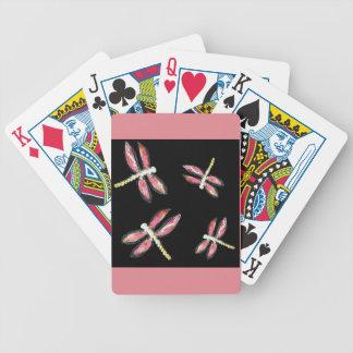 Insekten-Kunst, die rosa Libelle tanzt Bicycle Spielkarten