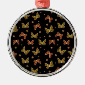 Insekten-Motiv-Muster Rundes Silberfarbenes Ornament