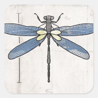 Insekten-Reihen-Libelle durch VOL25 Quadratischer Aufkleber