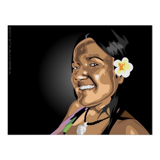 Insel-Blumen in ihrem Haar Plakat