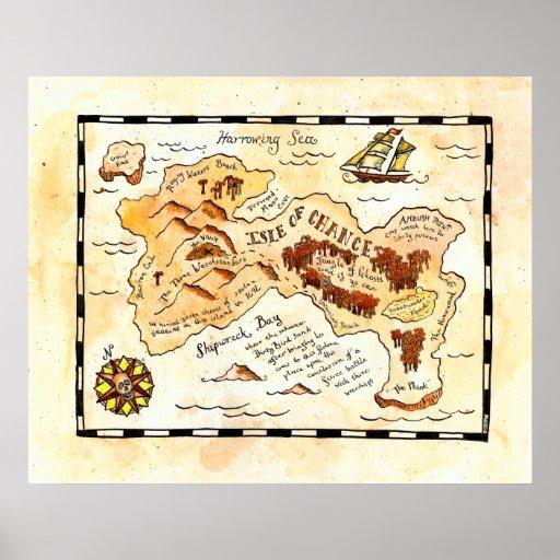 Insel der Möglichkeits-Schatz-Karte Plakate