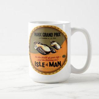 Insel der Vintagen Motorradrennen des Mannes Kaffeetasse