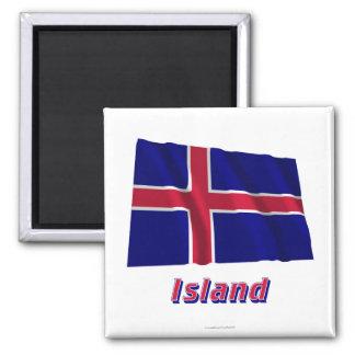 Insel Fliegende Flagge MIT Namen Quadratischer Magnet