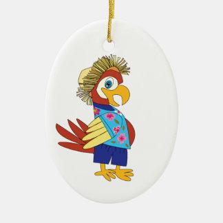 Insel-Papagei Ovales Keramik Ornament