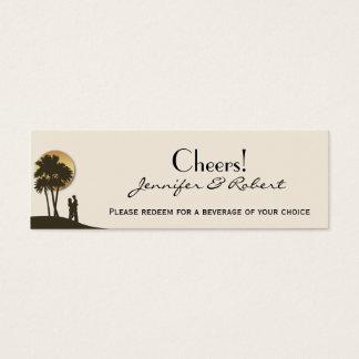 Insel-Paradies-Hochzeits-Getränk-Karten Mini Visitenkarte
