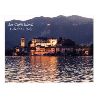 Insel Sans Giulio, See Orta, Italien, an der Postkarte