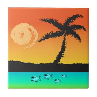 Insel-Sonnenuntergang Fliese