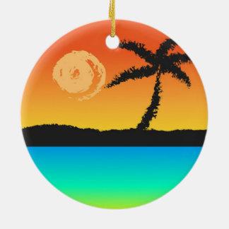 Insel-Sonnenuntergang Keramik Ornament