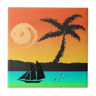 Insel-Sonnenuntergang Keramikfliese