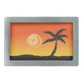 Insel-Sonnenuntergang Rechteckige Gürtelschnalle