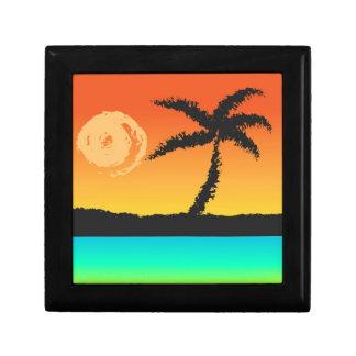 Insel-Sonnenuntergang Schmuckschachtel