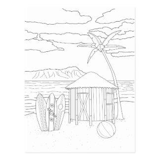 Insel Tiki Hütten-erwachsene Farbton-Postkarte Postkarte