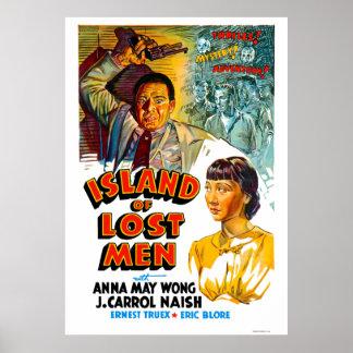 Insel verlorene Mann-des Vintagen Film-Plakats