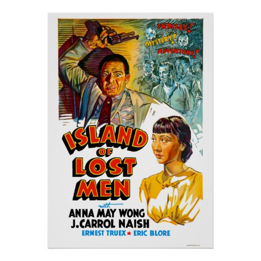 Insel verlorene Mann-des Vintagen Film-Plakats Plakat